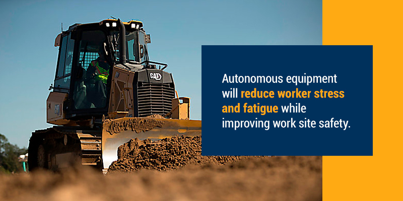 Autonomous quipment will reduce worker stress and fatigue while improving work site safety.