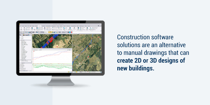 Construction software solutionsare an alternative to manual drawings that can create 2D or 3D designs of new buildings.