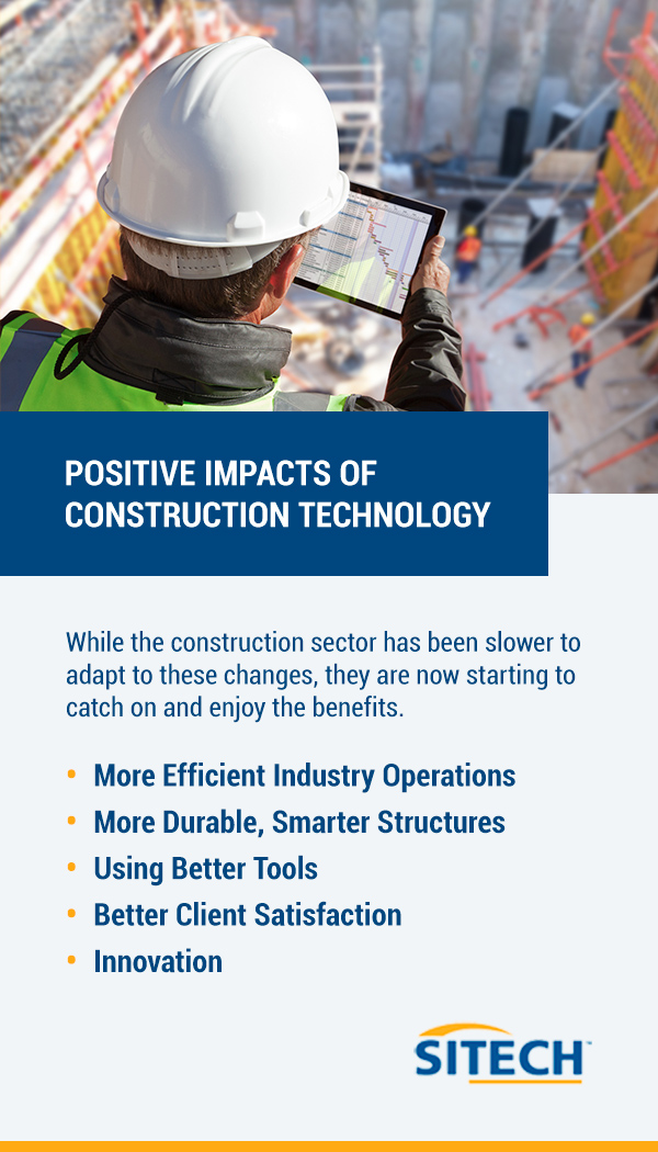 Positive Impacts of Construction Technology. While the construction sector has been slower to adapt to these changes, they are now starting to catch on and enjoy the benefits.